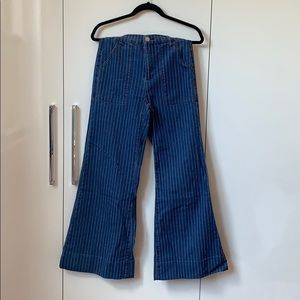 Wide Cut Vintage Style Striped Jeans